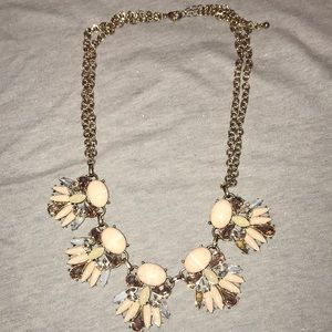 Light gold and pink statement necklace